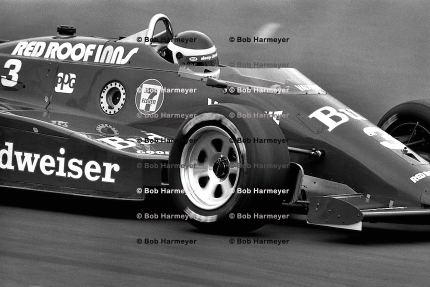 EAST RUTHERFORD, NJ - JUNE 30: Bobby Rahal drives a March 85C/Cosworth during the Meadowlands U.S. Grand Prix CART IndyCar race on the temporary street circuit at the Meadowlands Sports Complex in East Rutherford, New Jersey, on June 30, 1985.