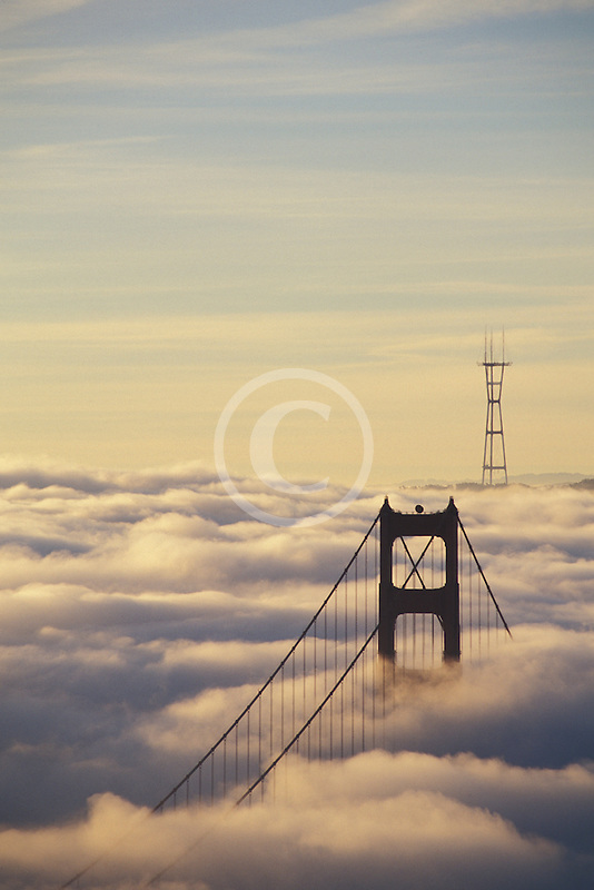 California, Marin County, Golden Gate Bridge from Marin Headlands
