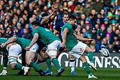 9th February 2019, Murrayfield Stadium, Edinburgh, Scotland; Guinness Six Nations Rugby Championship, Scotland versus Ireland; Conor Murray (Ireland) clears his lines