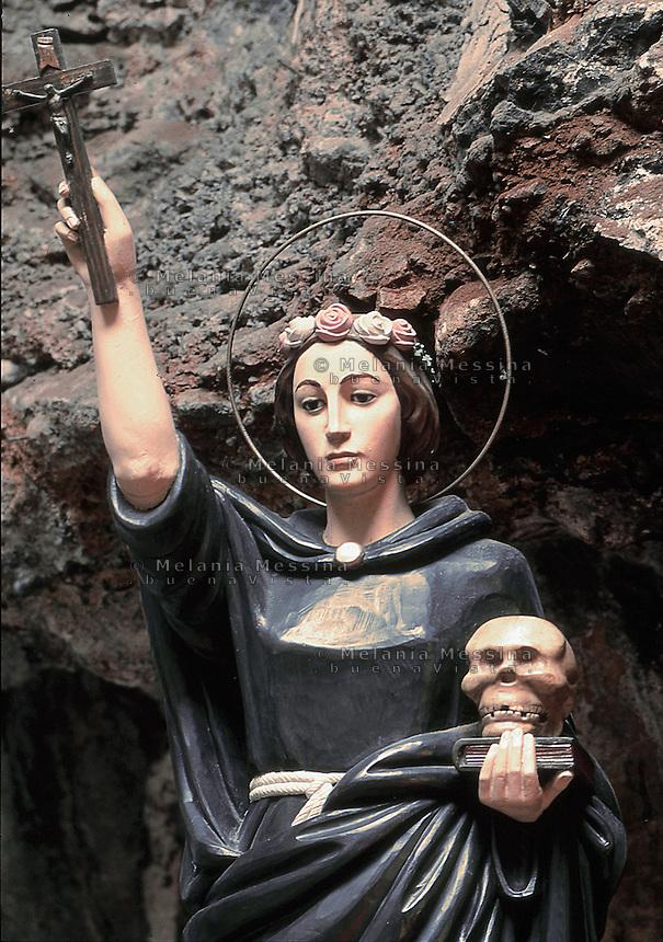 Palermo, sanctuary of Saint Rosalia: the statue of the saint.<br /> Palermo, santuario di Santa Rosalia: la statua raffigurante la santa.