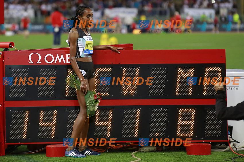 Almaz Ayana ETH Winner 5000m Women  <br /> Roma 02-06-2016 Stadio Olimpico.<br /> IAAF Diamond League 2016<br /> Atletica Legera <br /> Golden Gala Meeting - Track and Field Athletics Meeting<br /> Foto Cesare Purini / Insidefoto