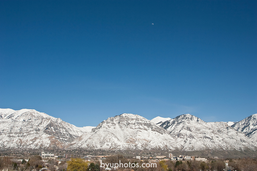 0603-01 March GCS..A snow covered Y mountain and other peaks provide a magnificent backdrop for BYU campus, seen here from across the valley...March 2006..Photo by Jaren Wilkey/BYU..Copyright BYU Photo 2006.All Rights Reserved.photo@byu.edu   (801)422-7322