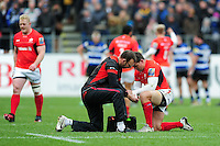 Schalk Brits of Saracens is treated for an injury during a break in play. Aviva Premiership match, between Bath Rugby and Saracens on December 3, 2016 at the Recreation Ground in Bath, England. Photo by: Patrick Khachfe / Onside Images