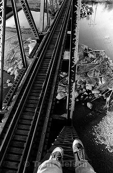 Trent feet and train bridge.<br />