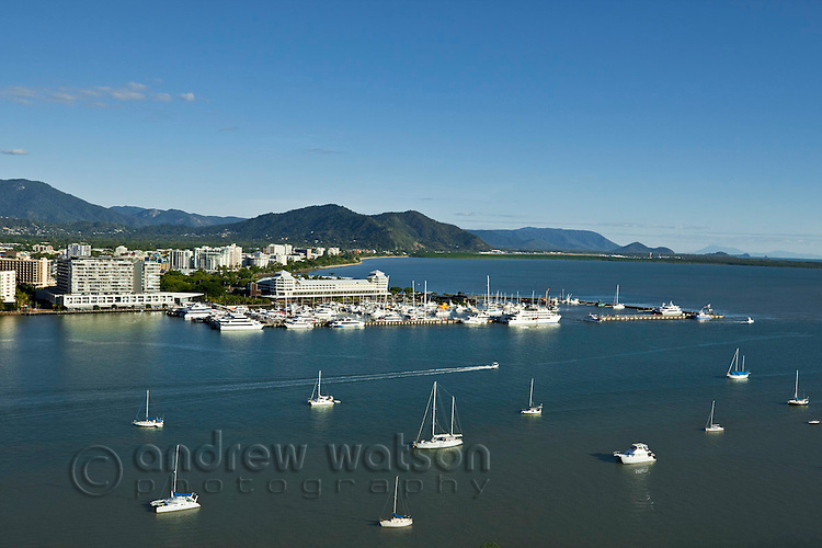 Aerial view of Trinity Inlet and city centre.  Cairns, Queensland, Australia