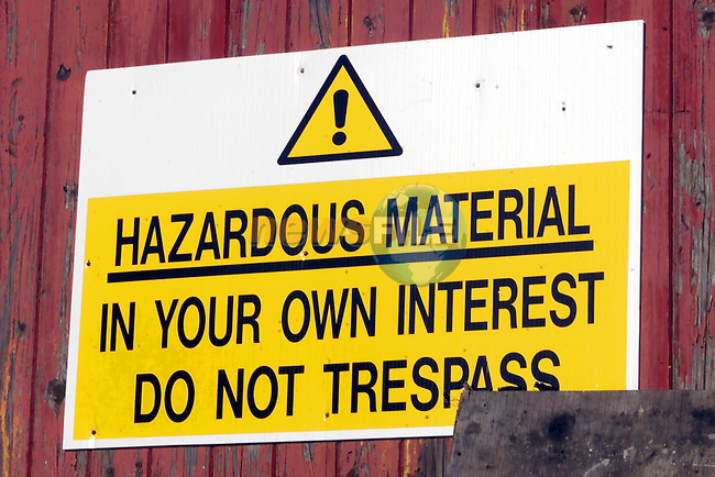 the sign in the South Bank industrial estate telling people about the Hazardous Material..Picture Fran Caffrey Newsfile...This Picture is sent to you by:..Newsfile Ltd.The View, Millmount Abbey, Drogheda, Co Louth, Ireland..Tel: +353419871240.Fax: +353419871260.GSM: +353862500958.ISDN: +353419871010.email: pictures@newsfile.ie.www.newsfile.ie