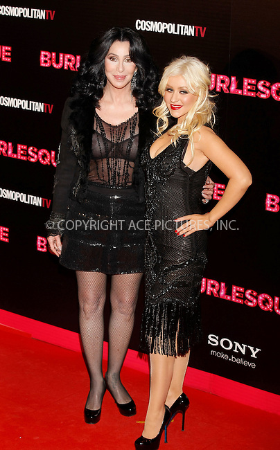 WWW.ACEPIXS.COM . . . . .  ..... . . . . US SALES ONLY . . . . .....December 9 2010, Madrid....Cher and Christina Aguilera at the premiere of 'Burlesque' on December 9 2010 in Madrid....Please byline: FAMOUS-ACE PICTURES... . . . .  ....Ace Pictures, Inc:  ..Tel: (212) 243-8787..e-mail: info@acepixs.com..web: http://www.acepixs.com