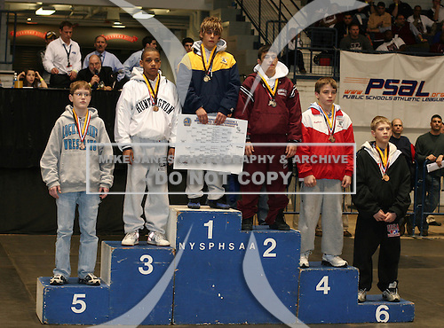 Bob Dierna (1st Place - Wayne); Sean McCormick (2nd place - Johnson City); Damon McQueen (3rd Place - Hunington); Brian Realbuto (4th place - Somers); Matt Ross (5th place - Rocky Point); and Tim Schaefer (6th place - Lancaster) pose on the podium for the Division 1 96 weight class during the NY State Wrestling Championships at Blue Cross Arena on March 9, 2009 in Rochester, New York.  (Copyright Mike Janes Photography)