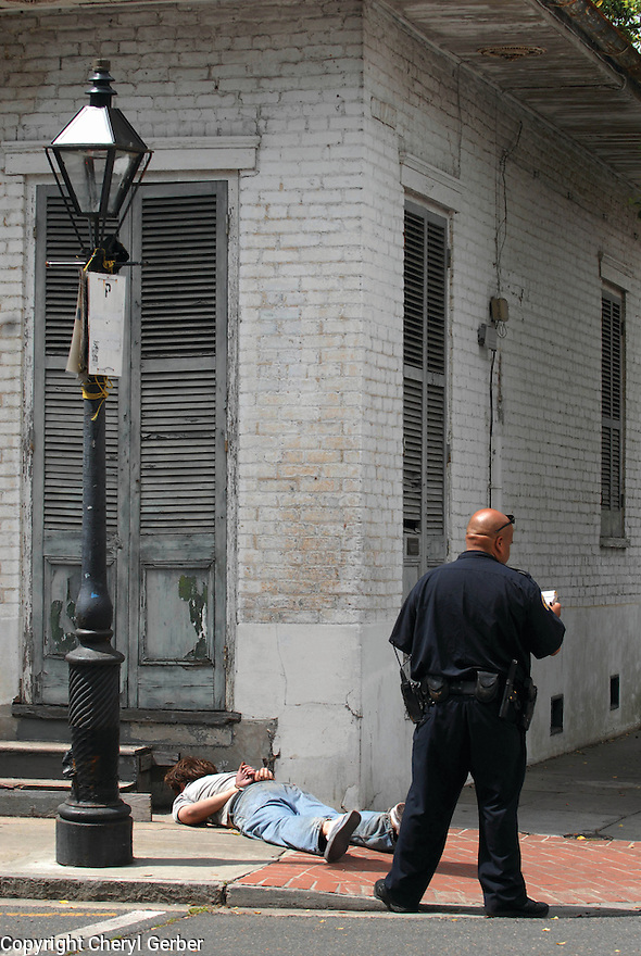 A man is arrested in the French Quarter, 2007