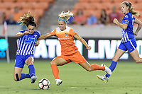 Houston, TX - Saturday July 22, 2017: Brooke Elby and Rachel Daly during a regular season National Women's Soccer League (NWSL) match between the Houston Dash and the Boston Breakers at BBVA Compass Stadium.