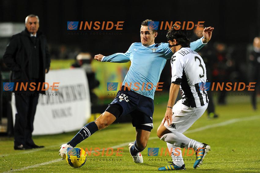 Miroslav Klose Lazio, Cristiano Del Grosso Siena.Siena 07/01/2012 Stadio Artemio Franchi.Serie A 2011/2012 Football Calcio .Siena Vs Lazio.Foto Insidefoto Andrea Staccioli