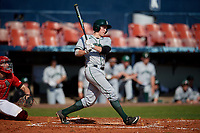 Dartmouth Big Green catcher Ben Rice (9) bats during a game against the Bradley Braves on March 21, 2019 at Chain of Lakes Stadium in Winter Haven, Florida.  Bradley defeated Dartmouth 6-3.  (Mike Janes/Four Seam Images)