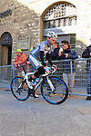Simone Ponzi (ITA) Southeast Pro Cycling Team makes his way to sign on before the start of the 2015 Strade Bianche Eroica Pro cycle race 200km over the white gravel roads from San Gimignano to Siena, Tuscany, Italy. 7th March 2015<br /> Photo: Eoin Clarke www.newsfile.ie