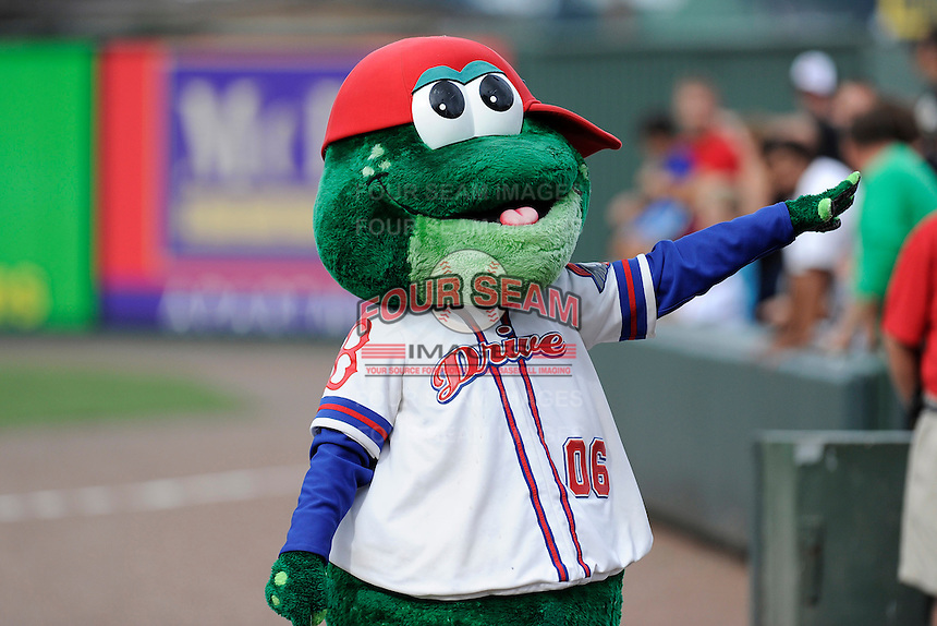 Reedy Rip'It, mascot of the Greenville Drive, works the crowd on Sunday, August 18, 2013, at Fluor Field at the West End in Greenville, South Carolina. Lexington won the first game of a doubleheader, 5-0. (Tom Priddy/Four Seam Images)