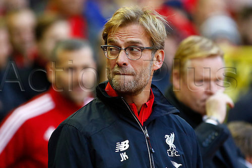 25.10.2015. Anfield, Liverpool, England. Barclays Premier League. Liverpool versus Southampton. Liverpool manager Jurgen Klopp before the kick off as he takes charge of the Reds in his first Premier League game at Anfield.
