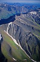 Aerial view of Wrangell Mountains near Bonanza Ridge in Wrangell-St. Elias National Park, Alaska, AGPix_0224.