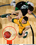 SIOUX FALLS, SD - MARCH 10: Tyler Witz #44 of the North Dakota State Bison has inside position on Filip Rebraca #12 of the North Dakota Fighting Hawks for a rebound during the men's championship game at the 2020 Summit League Basketball Tournament in Sioux Falls, SD. (Photo by Dave Eggen/Inertia)