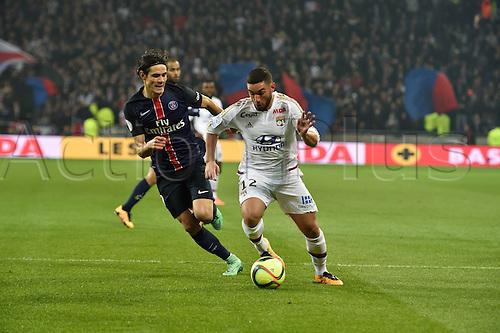 28.02.2016. Lyon, France. French League 1 football. Olympique Lyon versus Paris St Germain.  Jordan Ferri (lyon) and Edinson Cavani (psg)