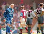 Peter Schmeichel of Manchester Utd berates his defenders - Barclays Premier League - Aston Villa v Manchester Utd - Villa Park Stadium - Birmingham - England - 19th August 1995 - Picture Sportimage