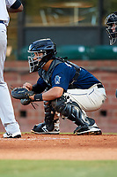 Mobile BayBears catcher Francisco Arcia (32) during a game against the Pensacola Blue Wahoos on April 25, 2017 at Hank Aaron Stadium in Mobile, Alabama.  Mobile defeated Pensacola 3-0.  (Mike Janes/Four Seam Images)