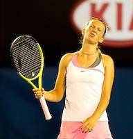 Victoria Azarenka (BLR) (7) against  Vera Zvonareva (RUS) (9) in the Fourth Round of the Womens Singles. Azarenka beat Zvonereva 4-6 6-4 6-0..International Tennis - Australian Open Tennis - Monday 25 Jan 2010 - Melbourne Park - Melbourne - Australia ..© Frey - AMN Images, 1st Floor, Barry House, 20-22 Worple Road, London, SW19 4DH.Tel - +44 20 8947 0100.mfrey@advantagemedianet.com