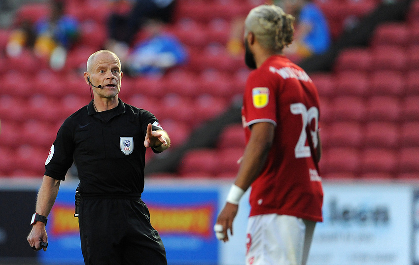 Referee Andy Woolmer has words with Bristol City's Ashley Williams<br /> <br /> Photographer Ian Cook/CameraSport<br /> <br /> The EFL Sky Bet Championship - Bristol City v Preston North End - Wednesday July 22nd 2020 - Ashton Gate Stadium - Bristol <br /> <br /> World Copyright © 2020 CameraSport. All rights reserved. 43 Linden Ave. Countesthorpe. Leicester. England. LE8 5PG - Tel: +44 (0) 116 277 4147 - admin@camerasport.com - www.camerasport.com