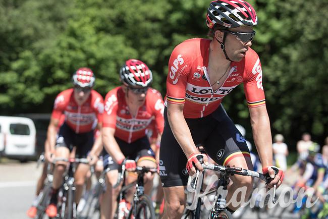 Jens Debusschere (BEL/Lotto Soudal) leads the peloton up the Cote de Maquisard<br /> <br /> Baloise Belgium Tour 2017 (2.HC)<br /> Stage 4: Ans-Ans 167,8km
