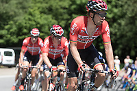 Jens Debusschere (BEL/Lotto Soudal) leads the peloton up the Cote de Maquisard<br /> <br /> Baloise Belgium Tour 2017 (2.HC)<br /> Stage 4: Ans-Ans 167,8km