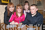QUIZ: Supporting the Parents council for ardfert primary school were past pupils on Friday night at the Ardfert parents fundraising quiz at Kate Brownes on Friday night, L-r: Jennifer Blackwell, Amy Trant,Aoife Delaney and TJ Trant................. . ............................... ..........