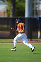 GCL Astros left fielder Nestor Muriel (31) tracks a fly ball during the first game of a doubleheader against the GCL Mets on August 5, 2016 at Osceola County Stadium Complex in Kissimmee, Florida.  GCL Astros defeated the GCL Mets 4-1 in the continuation of a game started on July 21st and postponed due to inclement weather.  (Mike Janes/Four Seam Images)