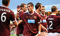 HEARTS' RUDI SKACEL CELEBRATES AFTER HE SCORES THE SECOND
