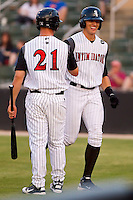 Trayce Thompson #24 of the Kannapolis Intimidators is all smiles after hitting a home run against the Delmarva Shorebirds at Fieldcrest Cannon Stadium on May 21, 2011 in Kannapolis, North Carolina.   Photo by Brian Westerholt / Four Seam Images
