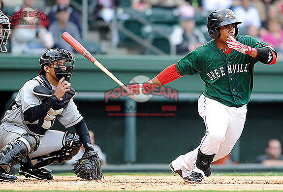 Outfielder Aneury Tavarez (5) of the Greenville Drive in a game against the West Virginia Power on Monday, April 15, 2013, at Fluor Field at the West End in Greenville, South Carolina. West Virginia won, 6-0. (Tom Priddy/Four Seam Images)