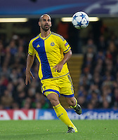 Gal Alberman of Maccabi Tel Aviv keeps eyes on the ball during the UEFA Champions League match between Chelsea and Maccabi Tel Aviv at Stamford Bridge, London, England on 16 September 2015. Photo by Andy Rowland.