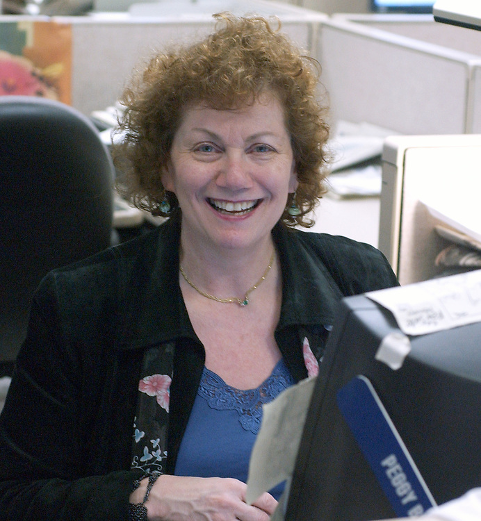 Peggy Brown, photographed at Newsday in Melville on Friday December 24, 2004. (Photo copyright Jim Peppler 2004).