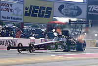 Sept. 14, 2012; Concord, NC, USA: NHRA top fuel dragster driver Larry Dixon during qualifying for the O'Reilly Auto Parts Nationals at zMax Dragway. Mandatory Credit: Mark J. Rebilas-