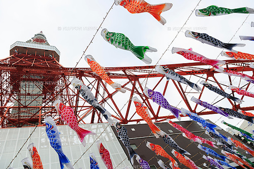 333 Koinobori (carp-shaped windsocks or streamers) on display outside the Tokyo Tower to celebrate Childen's Day on May 2, 2016, Tokyo, Japan. Children's Day, formerly known as ''Boys Day,'' takes place annually on May 5 during the Golden Week holiday to celebrate healthy growth and well-being of children. It has been said that carp was chosen because of its strong and energetic nature, which are desirable traits for boys. (Photo by Rodrigo Reyes Marin/AFLO)