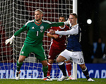 Kasper Schmeichel of Denmark tussles with Leigh Griffiths of Scotland during the Vauxhall International Challenge Match match at Hampden Park Stadium. Photo credit should read: Simon Bellis/Sportimage