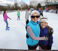 NWA Democrat-Gazette/ANDY SHUPE<br /> Saturday, Nov. 21, 2015, during the first day of skating at the Lawrence Plaza skating rink in Bentonville. The rink is open for its sixth year and is open daily through mid-January. Visit nwadg.com/photos to see more from the opening day.