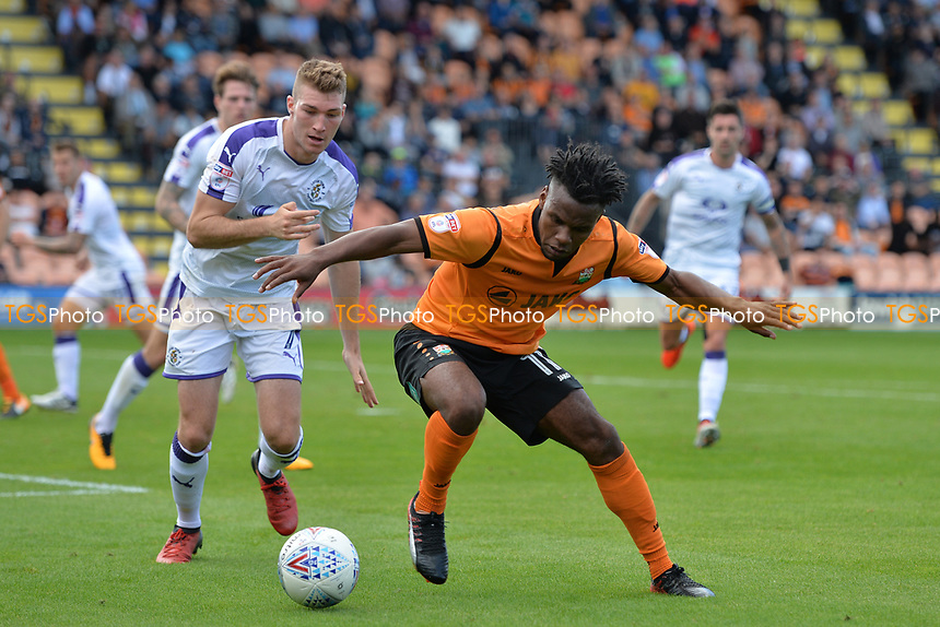 Shaquile Coulthirst of Barnet and Jack Stacey of Luton Town during Barnet vs Luton Town, Sky Bet EFL League 2 Football at the Hive Stadium on 12th August 2017