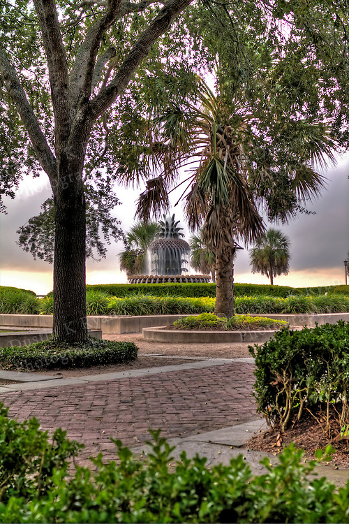 Pineapple Fountain Charleston South Carolina Waterfront Park High Dynamic Range HDR