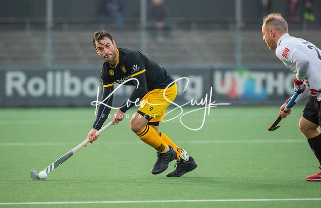 AMSTELVEEN - Sebastian Dockier (Den Bosch)   tijdens de competitie hoofdklasse hockeywedstrijd mannen, Amsterdam- Den Bosch (2-3).  COPYRIGHT KOEN SUYK