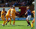 RANGERS' STEVEN NAISMITH SCORES RANGERS' FIRST AS HE DEFLECTS  NIKICA JELAVIC'S HEADER INTO THE NET