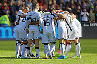 Swansea players huddle prior to the Sky Bet Championship match between Swansea City and Cardiff City at the Liberty Stadium, Swansea, Wales, UK. Sunday 27 October 2019