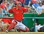 2 September 2012: Washington Nationals' catcher Kurt Suzuki in action against the St. Louis Cardinals at Nationals Park in Washington, DC. The Nationals edged out the visiting Cardinals 4-3, capping their 4-game series with three wins. Mandatory Credit: Ed Wolfstein Photo