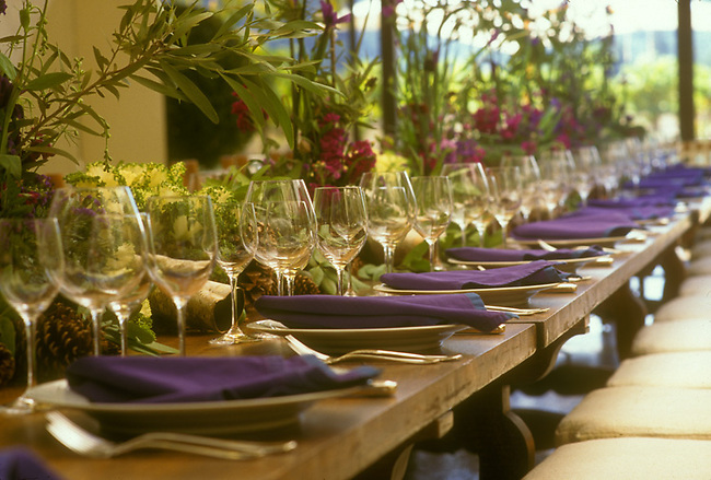 Table settings await visitors to a lunch at Robert Mondavi Winery