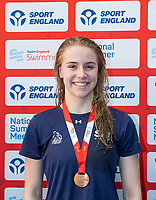 Picture by Allan McKenzie/SWpix.com - 05/08/2017 - Swimming - Swim England National Summer Meet 2017 - Ponds Forge International Sports Centre, Sheffield, England - Emma Rowson takes bronze in the womens 17yrs 100m backstroke.