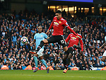 Chris Smalling of Manchester United scores the third goalduring the premier league match at the Etihad Stadium, Manchester. Picture date 7th April 2018. Picture credit should read: Simon Bellis/Sportimage