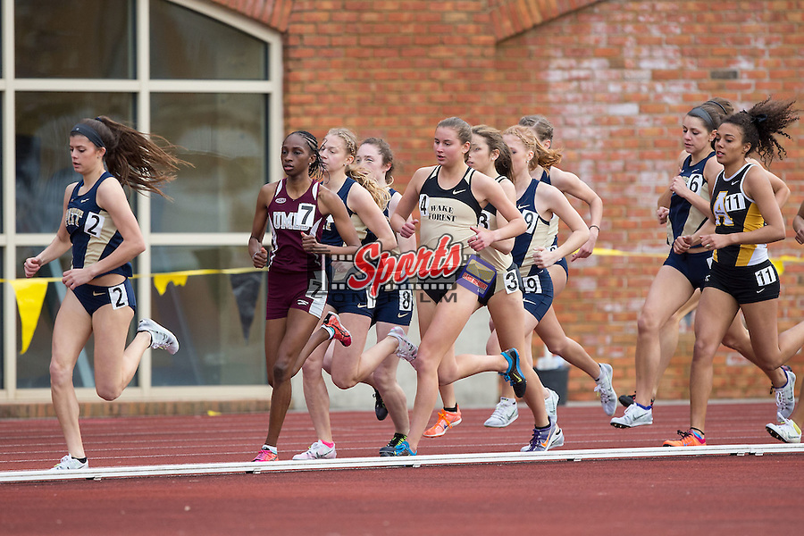 Sarah Fahmy (4) of the Wake Forest Demon Deacons competes in the Women's 1500 meter run at the Wake Forest Open on March 20, 2015 in Winston-Salem, North Carolina.  (Brian Westerholt/Sports On Film)