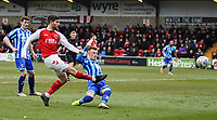 Fleetwood Town's Ched Evans shoots for goal but it goes wide <br /> <br /> Photographer Lee Parker/CameraSport<br /> <br /> The EFL Sky Bet League One - Fleetwood Town v Blackpool - Saturday 7th March 2020 - Highbury Stadium - Fleetwood<br /> <br /> World Copyright © 2020 CameraSport. All rights reserved. 43 Linden Ave. Countesthorpe. Leicester. England. LE8 5PG - Tel: +44 (0) 116 277 4147 - admin@camerasport.com - www.camerasport.com